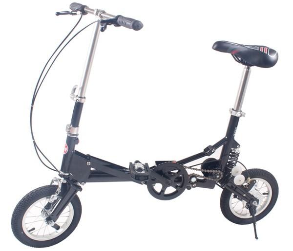 12 small size single speed folding bicycle bike mini foldable bike black. Black Bedroom Furniture Sets. Home Design Ideas