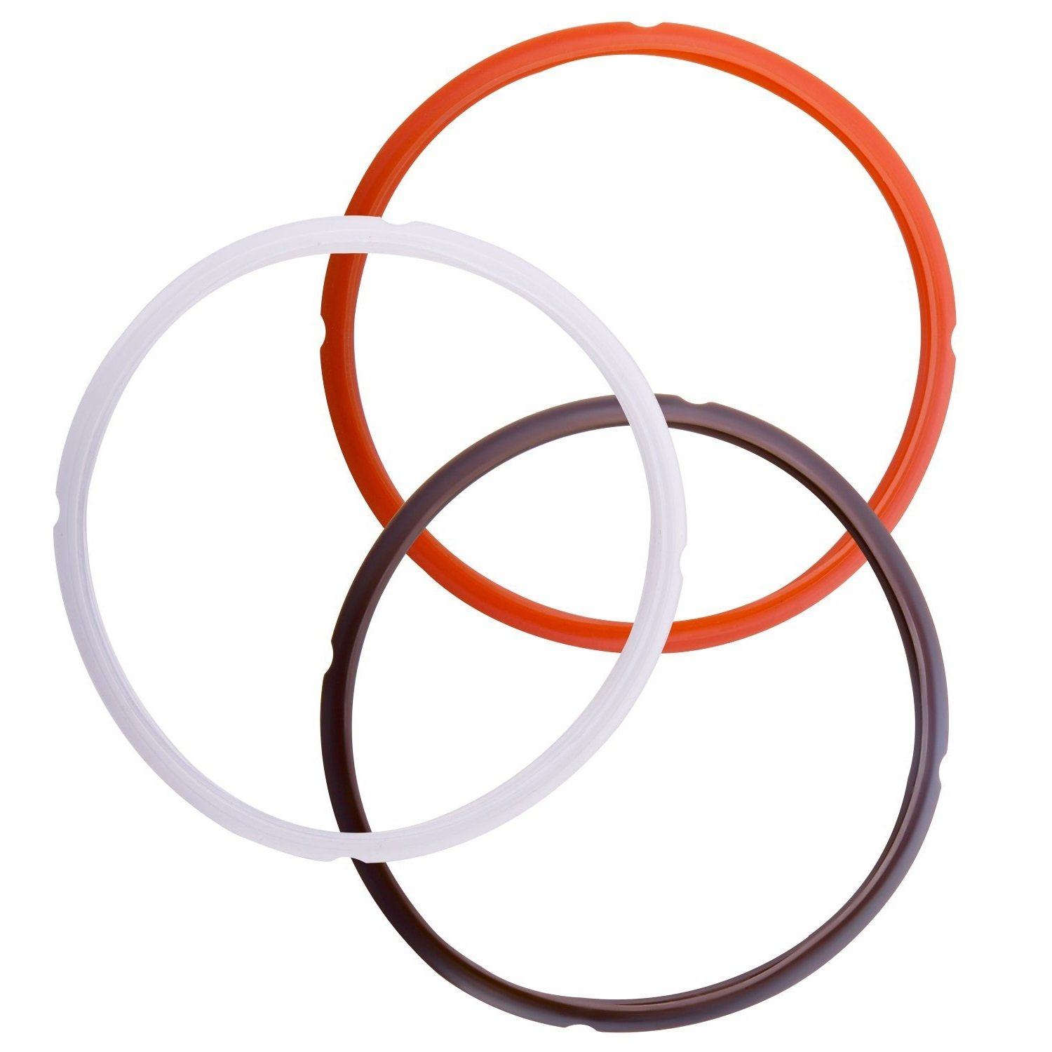 Pexils Kitchen(tm) Pot Instant Multi Cooker Silicone Sealing Ring Colorful Sweet n Savory Edition (3, Orange+Brown+Clear)