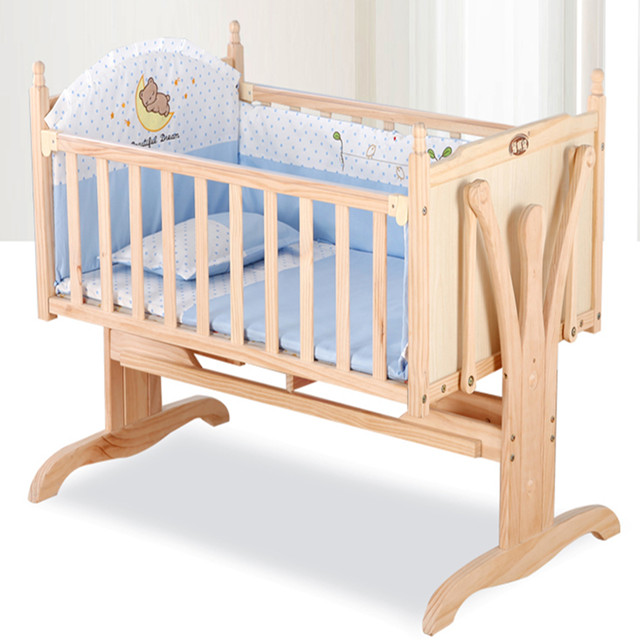 Good quality wood single cot bed/reborn baby bed/can be automatic swing baby crib