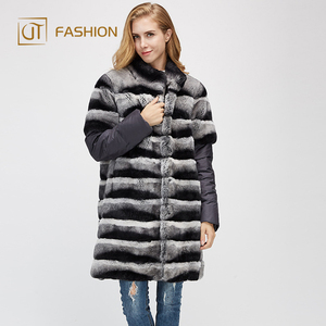 China wholesale jtfur across stripe standing collar long stitching rex rabbit removable women real fur coat