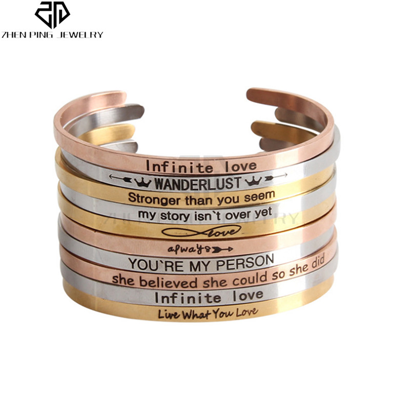Gold Stainless Steel Custom Positive Inspirational Bracelet Stackable Cuff Engraved Bangle