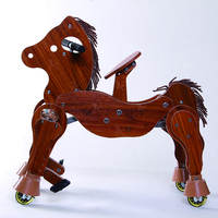 Walking kids riding horse toy wood stable mechanical horse with wheels