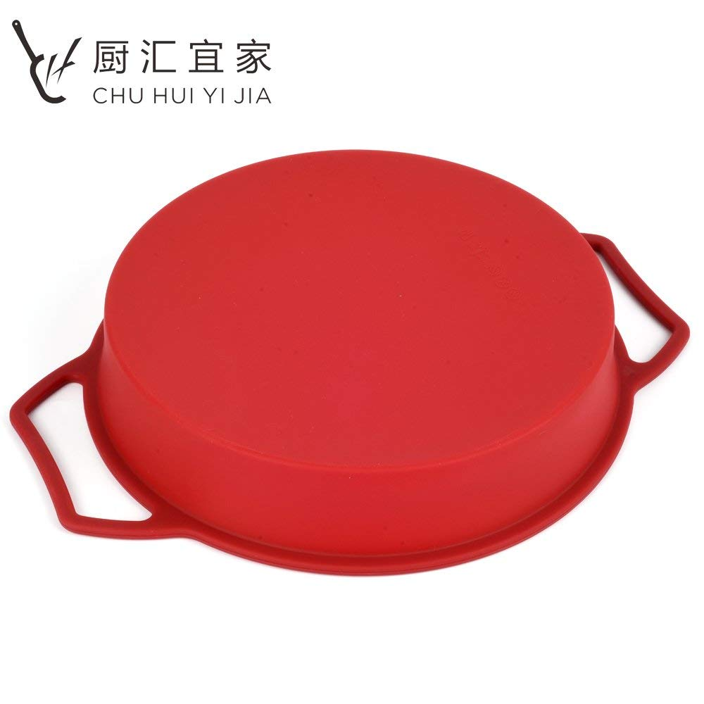 Sturdy Handle & Non-Stick Round Cake Pan Silicone Baking Mold Fondant Cake Pan Trays Gateau Mousse Brownie Birthday Bakeware Cake Moulds (Wine Red)