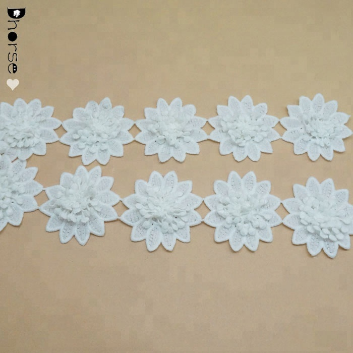 Factory wholesale lace chemical polyester material flower 3d lace trim DHDT326