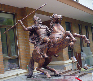 Bronze knight sculpture ride horse with spear