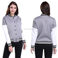 Women Euro Style Two Tone-Colored Spliced Jacket Space Cotton Baseball Coat Oversize High Quality Basic Jacket For 4 Season