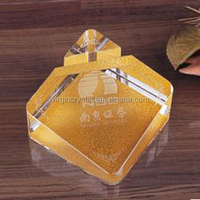 Souvenir Use and crystal K9 crystal material crystal place name card holder with Custom Logo as Office Stationery Decoration