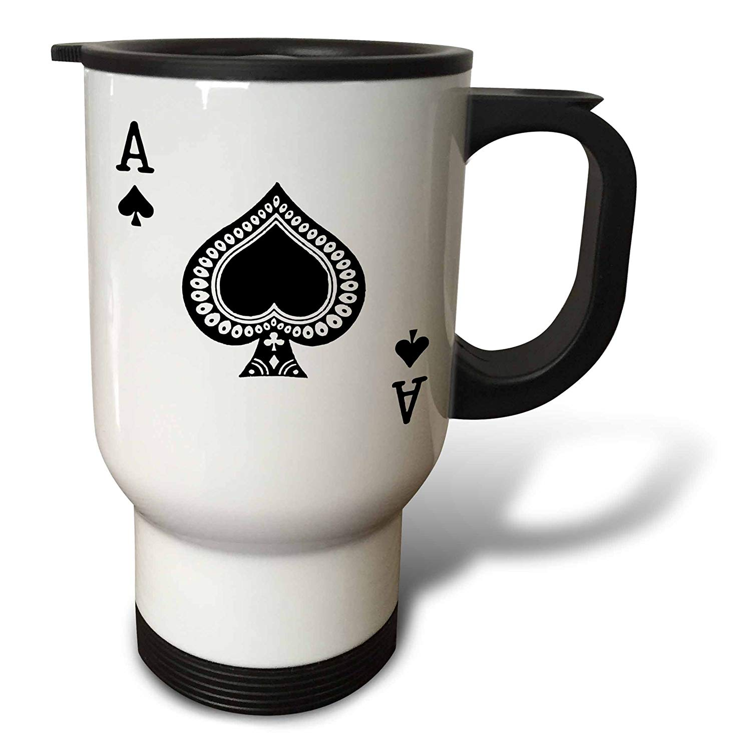 3dRose Ace of Spades Playing Card-Black Spade Suit Stainless Steel Travel Mug, 14-Ounce