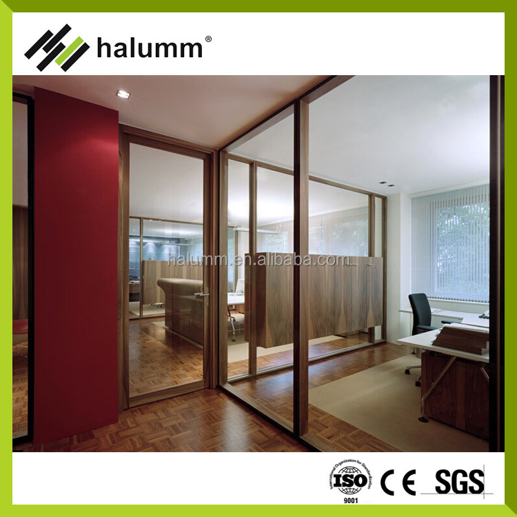Office partition wall cladding panel wood demountable partition wall modular office partition Interior glass partition systems
