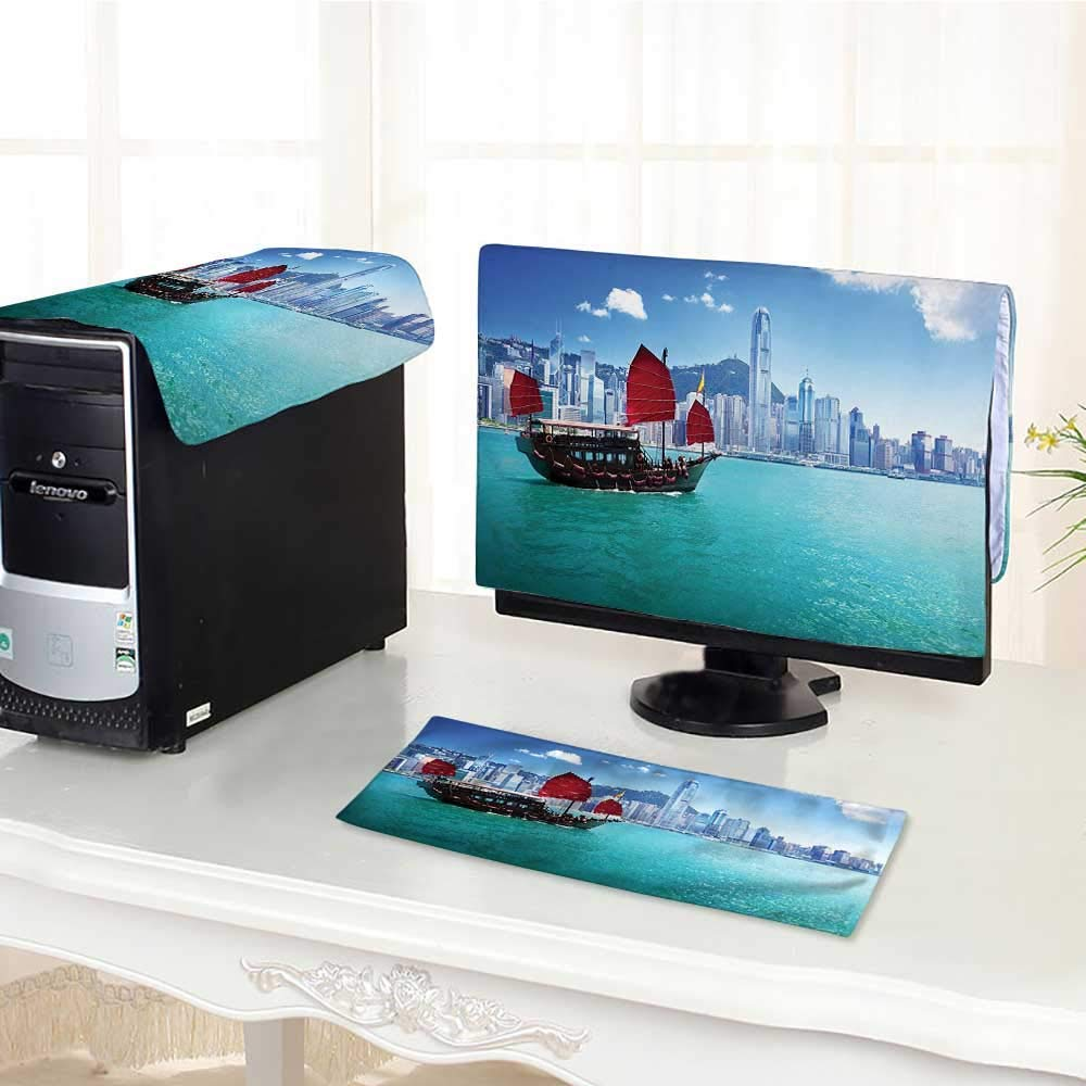 Computer dustproof Three-Piece Room Asian Hong Kong Harbour and Small Junk Boat with Blue Red for LED LCD Screens Flat Panel HD Display /27""