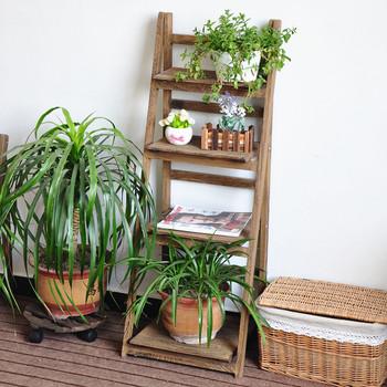 Ladder Design Wooden Plant Rack Flower Planter Shelf / Display Stand