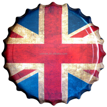 UK Flag Beer Bottle Cap Low Price Antique Metal Beer Crown Caps Signs