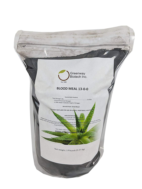 "Blood Meal 13-0-0 Nitrogen Fertilizer""Greenway Biotech Brand"" 5 Pounds"