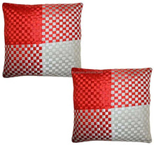Poly Silk Checked Pillowcases Satin Cushion Cover Pair Ribbon Work Cushion Covers Decorative 16x16 Inch New