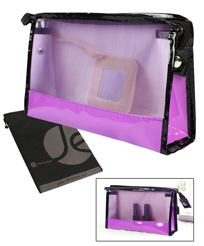 JAVOedge Purple and Black Window Toiletry / Cosmetic Travel Storage Bag with Zipper Closure and Bonus Drawstring Bag