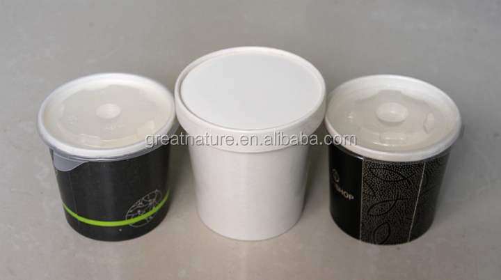 Disposable hot drinking paper bowls and lids