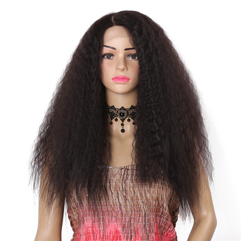 Synthetic Lace Front Wig Kinky Straight Wig For Women Heat Resistant Hair Natural Color