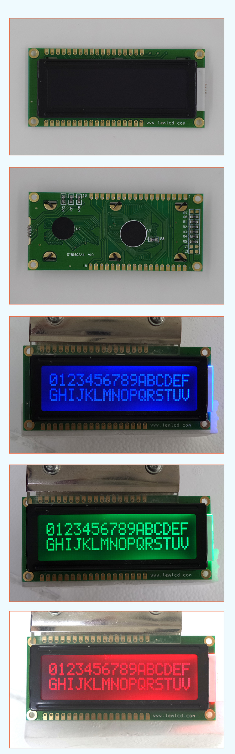 TCC(1602A) outdoor sunlight readable 16x2 character type lcd display screen 18 pin 1602 character lcd module