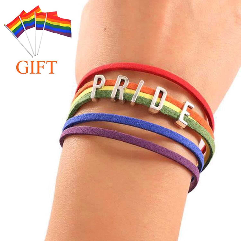 LF Gay Lesbian LGBT Rainbow Pride Bracelet Handmade Rainbow Rope Wide PRIDE Charm Cuff Bracelets with Gay Pride Flag Gift for Marriage Engagement IDAHO