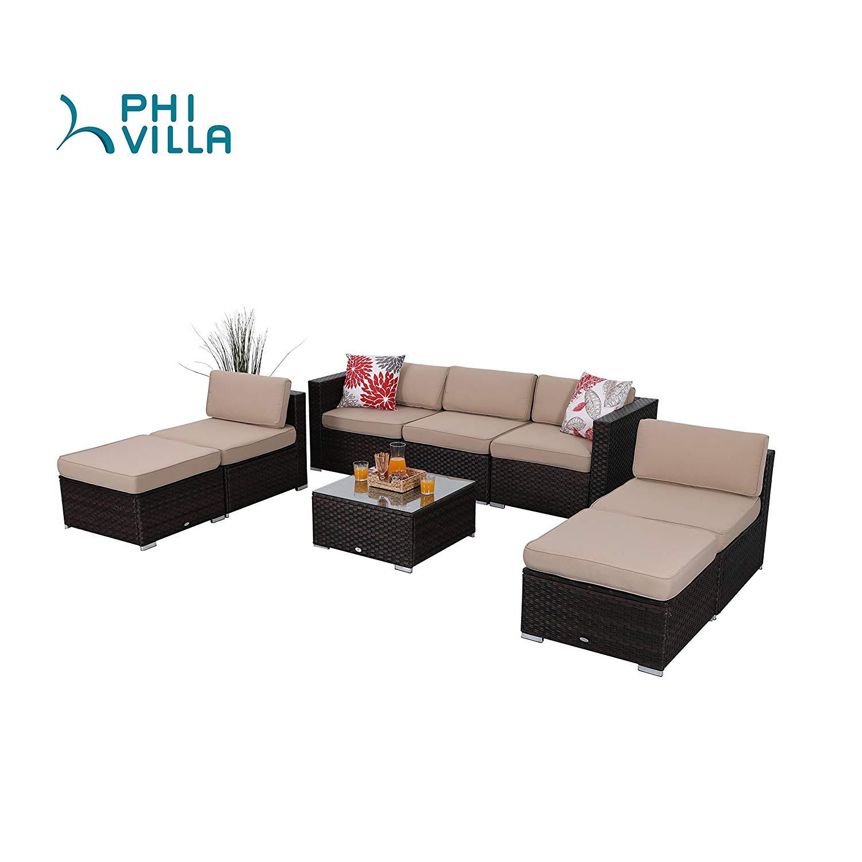 1f7ddc69f9d8 Get Quotations · PHI VILLA 8-Piece Outdoor Furniture Set Rattan Sectional  Sofa for Pool, Backyard,
