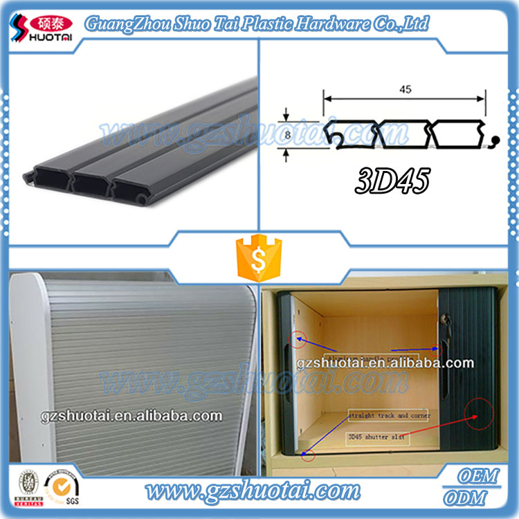 Simple to install black 8*45mm plastic roller shutter parts of door for livingroom cabinet