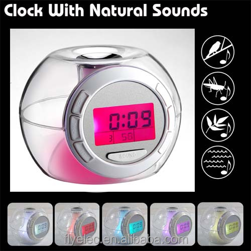 Digital Color changing Desktop Alarm Clock with 6 Natural Sounds