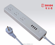 2017 Manufacturing CN Smart Surge Protector Power strip 3-AC Outlets Power Socket 4-USB Smart Charging Ports, Extension Sockets