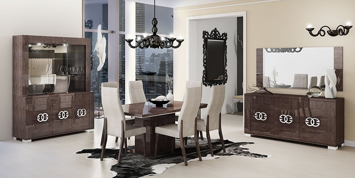 ESF Prestige High Gloss Wenge Lacquer 3-Door China Dining Room Set 8Pcs by Status Made in Italy
