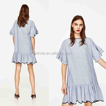 e608f89655aa7ab Платье в полоску с оборками рукава для женщин Мода обувь для девочек короткие  платья короткие цельнокроеное