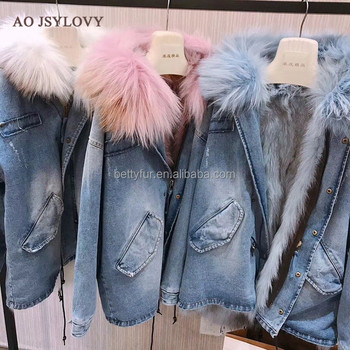 Short blue jeans shell raccoon fur hooded fox fur parka jacket womens
