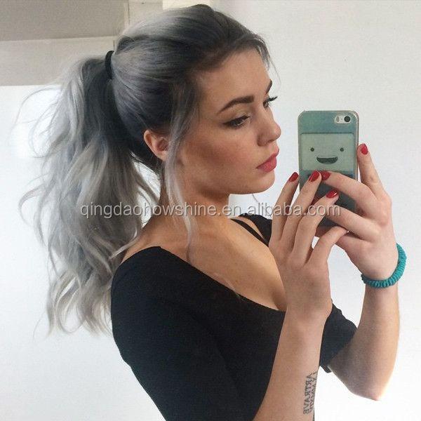 Factory Wholesale Brazilian Human Hair Grey Ponytail Buy Grey
