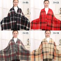 Button Closure Blankets Soft Shawls Plaid Tartan Printing Large Scarf Free Shipping to US DOM-108406