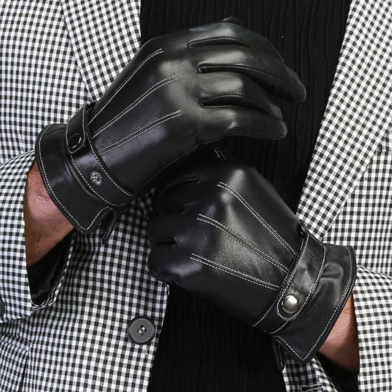 Fashion thermal touch screen winter genuine leather gloves men