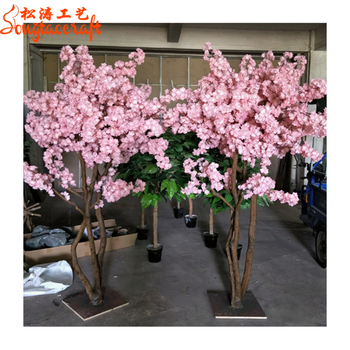 Pink Flower Small Plastic Flower Trees Artificial Indoor Cherry