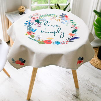 Beautiful Flower Designs Fabric Painting On Round Embroidery Tablecloth Table Cloth