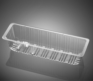 Oblong plastic disposable holder trays for cookie