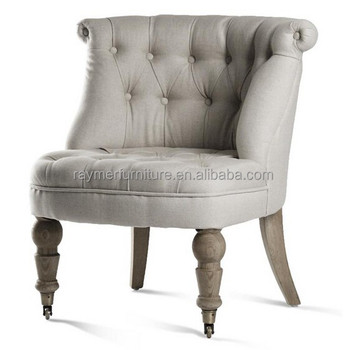 Top Seller UK French Style Natural Linen Tufted Accent Tub Chair With Wheels