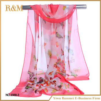 2017 newest ladies' fashion women butterfly printed scarf