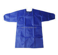 Children Painting Smock Apron Custom Art Smock With Long Sleeve For Kids Blue
