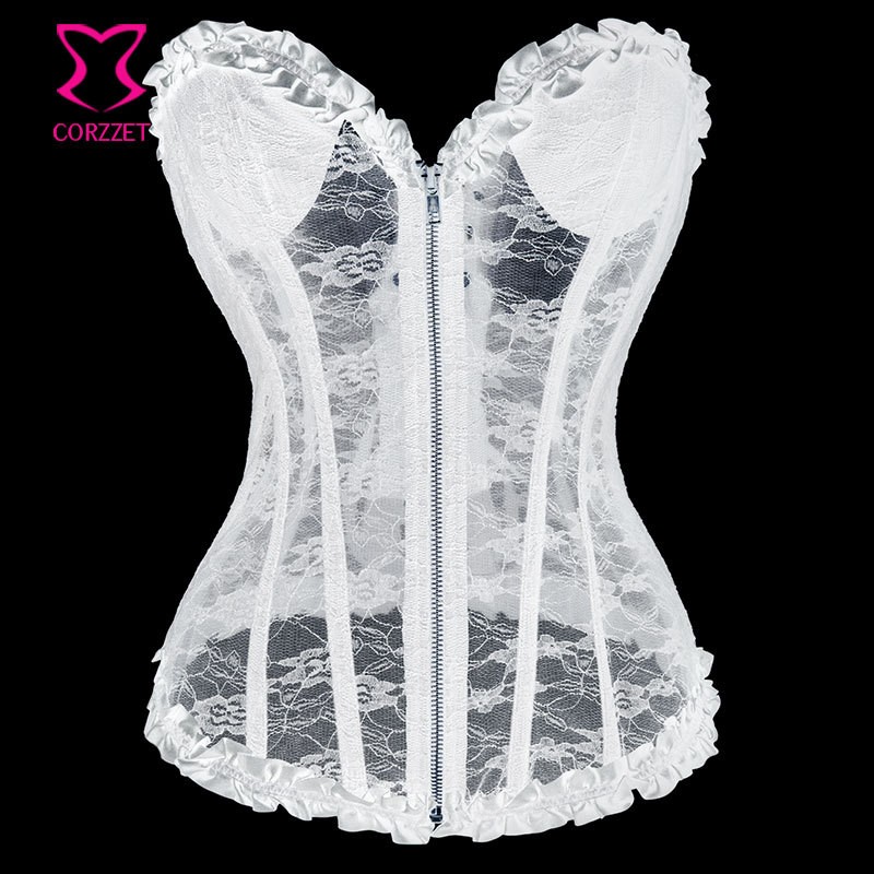 07632d778c Detail Feedback Questions about Red Transparent Floral Lace Zipper Corset  Top Padded Cup Body Shaper Women Bridal Corselet Overbust Bustier Sexy  Gothic ...