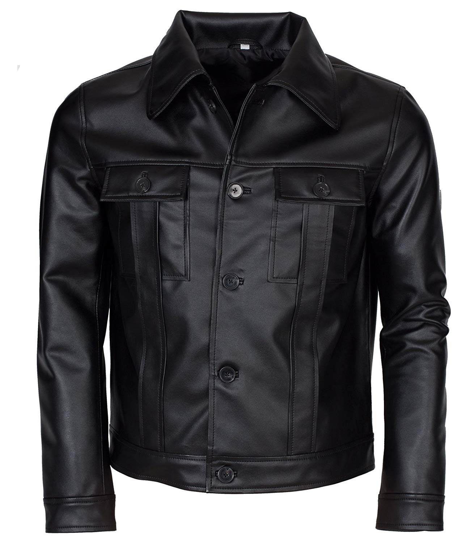 dfd41950aa2 Get Quotations · Elvis Presley Inspired Mens Black Genuine Leather Jacket