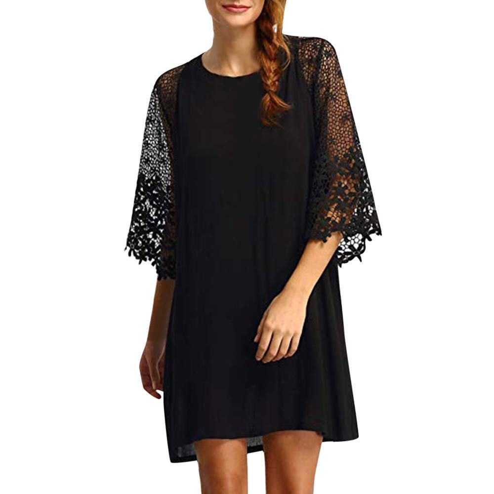 d921d5d9f25 Get Quotations · Clearance! Women s Dresses Sexy Half Sleeve Solid Casual  Crewneck Lace Stitch Hollow Out Autumn Chiffon