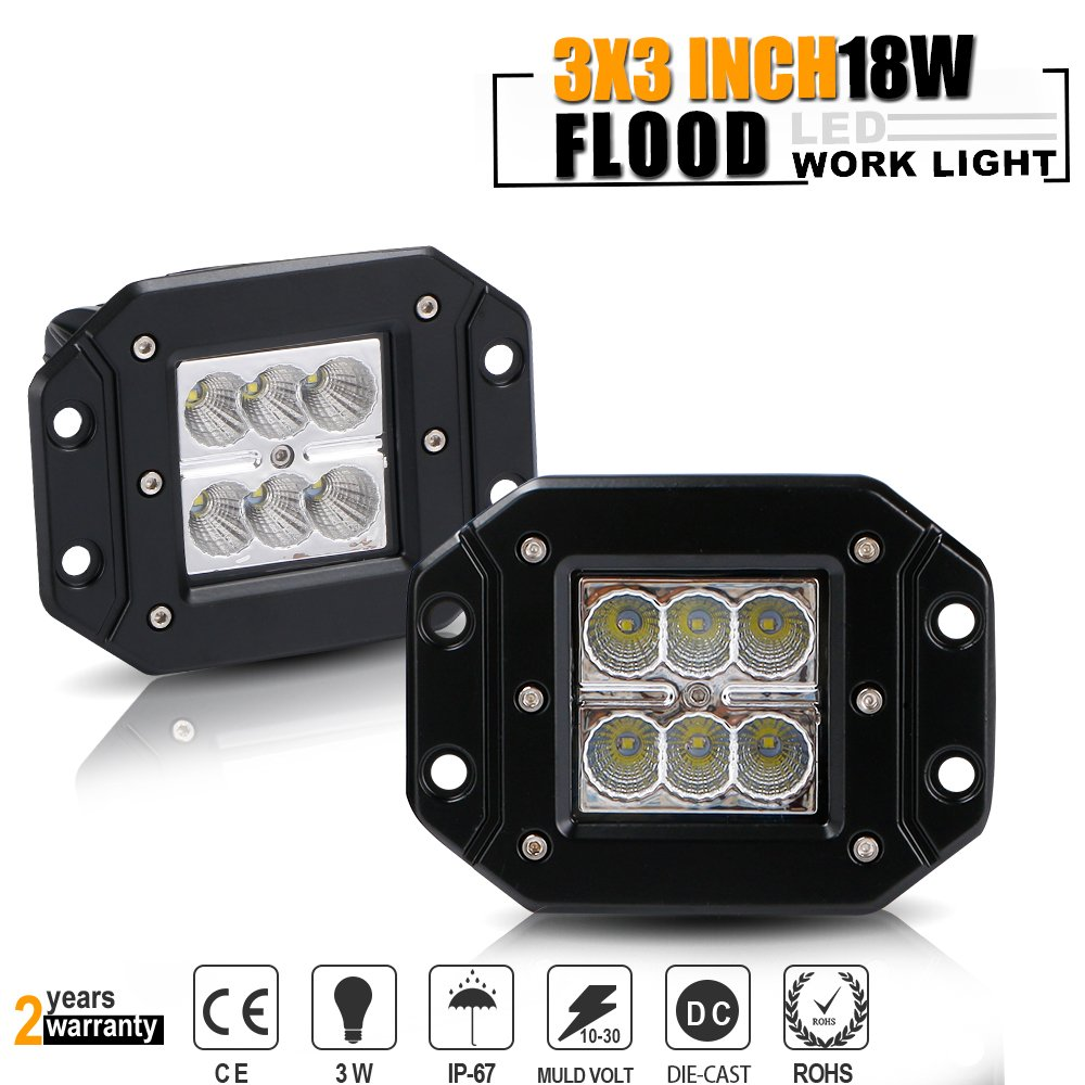 TURBOSII Spot 3X3 4.5In Flush Mount Pods Cube Reverse Backup Lamp Auxiliary Driving Fog Lights Bumper Grille Offroad Work Light For Toyota Tacoma Ford Dodge Ram Pickup Truck Jeep ATV Boat Chevy