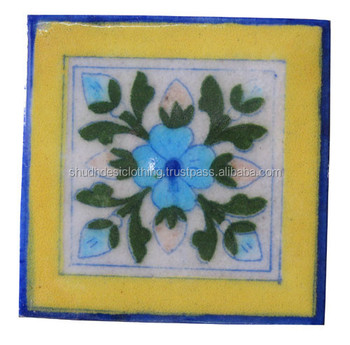 Dark Yellow U0026 Blue Floral Design Kitchen Tiles Wall Decor Tiles From India