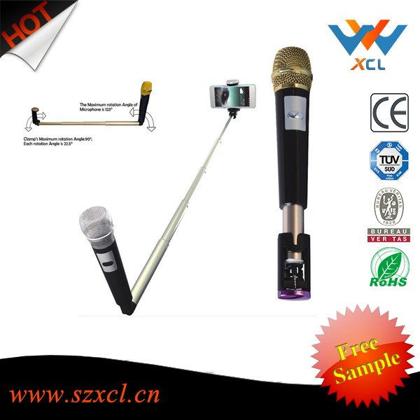 Bluetooth wireless karaoke selfie stick microphone with foldable holder