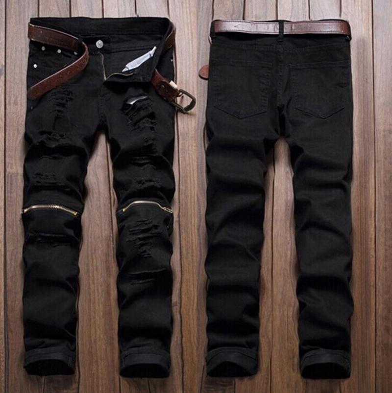 Wholesale Men Stylish Ripped Jeans Zipper Hollow Out Biker Classic