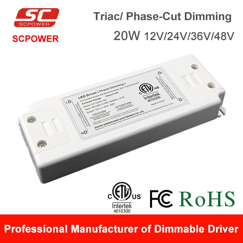SC LED driver CE RoHS led power supply switching 24V 0.83A 20W Triac dimmable LED power supply made in China