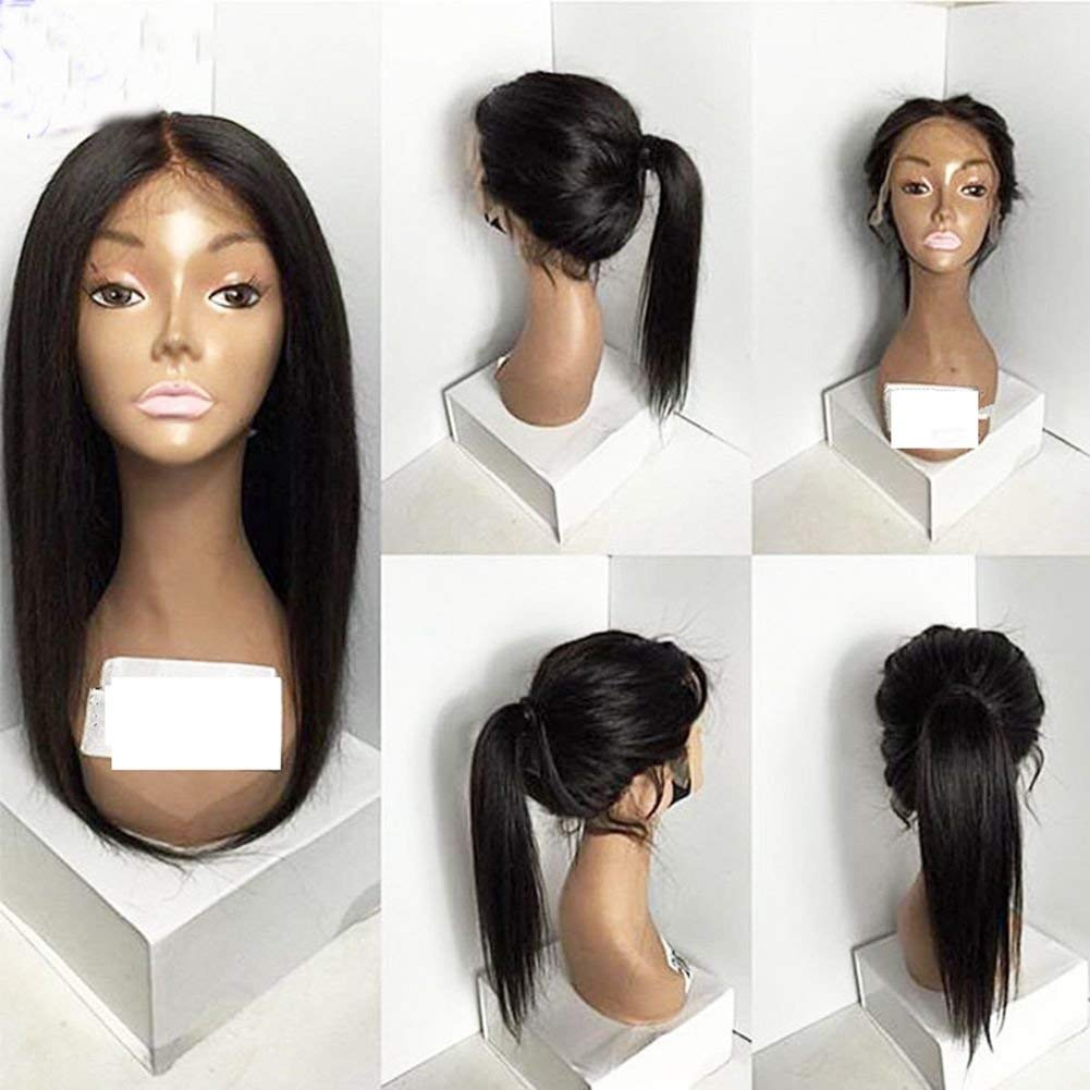 Natural looking synthetic hair lace front wig free part baby hair #1b#2#6#27#613Stock (18in, 2#)