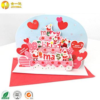 Handmade Paper Craft 3d Pop Up Christmas Greeting Card With Envelope