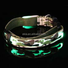 Popular Camouflage Dog Collars Flashing Cat Dog Necklace LED Dark Safe Warning Light-up Dog Collars LED